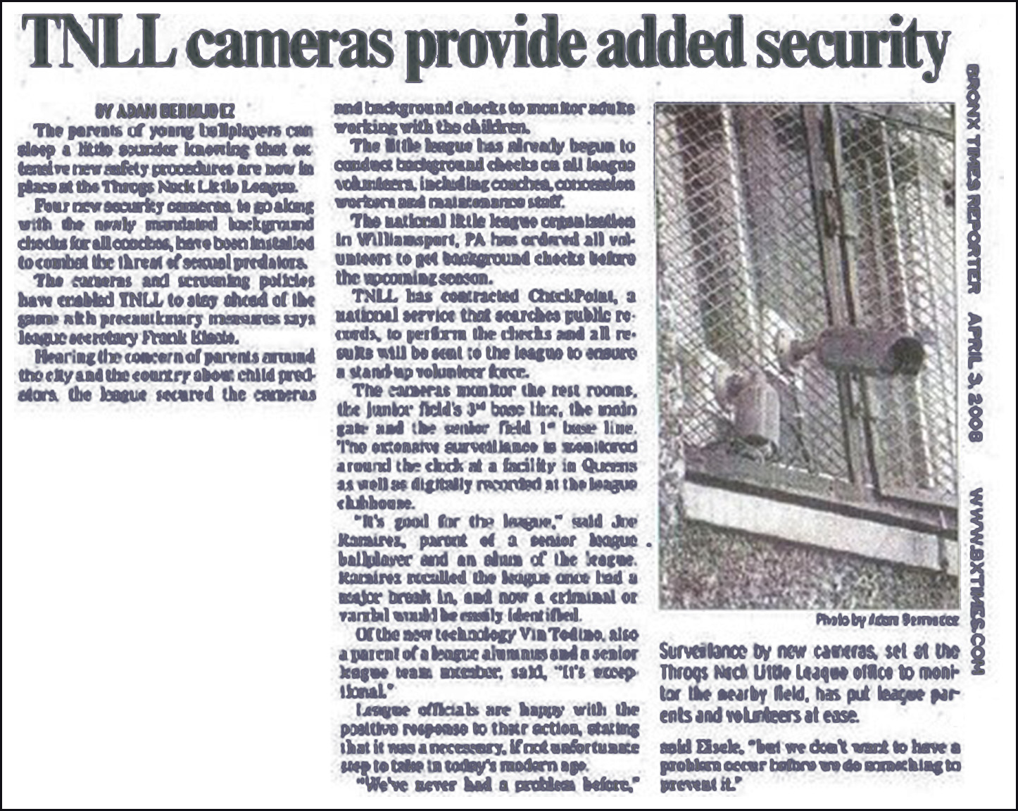 Throgs Neck Little League Cameras Provide Added Security